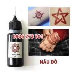Mực xăm (tattoo) trái cây tạm thời 7-10 ngày mực Đen, Đỏ, Nâu đỏ tặng 6 hình khuôn