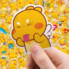 Bộ 25/50 sticker hình dán chủ đề gấu bông Khủng Long Vàng chống nước dán điện thoại, laptop, xe đạp, nón bảo hiểm,…