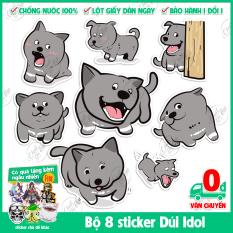 Bộ 8 sticker decal chống nước hình dán chủ đề bé Dúi Idol siêu dễ thương dùng dán xe, laptop, điện thoại, ipad, vali