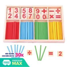 [Dự kiến giao 31/7] Bộ que tính học toán kèm thẻ số bằng gỗ – Đồ chơi gỗ Smart Baby 024- dochoigo024