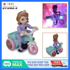 Đồ chơi công chúa đạp xe có phát nhạc, có đèn, tự động xoay 360