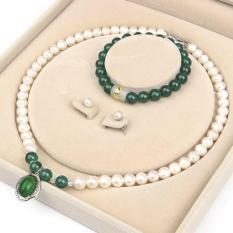 Bộ vòng cổ + vòng tay + đôi bông ngọc trai tự nhiên mix đá ngọc bích 10 mm