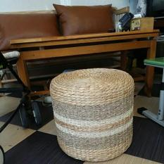 Đôn lục bình D40 x H40 || Ghế đôn đan bằng sợi lục bình decor loại đẹp