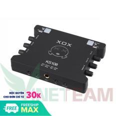Sound card XOX ks108 (Phiên bản k10 quốc tế 2019 cải tiến ic) dùng hát livestream, karaoke, thu âm. Phiên bản 2019 đã cải tiến ic âm thanh và vang hay hơn đời k10 trước, không bị lỗi rè âm thanh khi vặn volume lớn