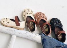 Giày búp bê nơ hoa cho bé gái, chất da êm mềm