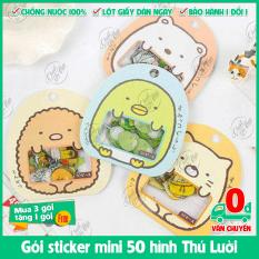 Gói sticker mini 50 hình chủ đề thú lười Nhật Bản để trí điện thoại, laptop, sách vở, bút viết,…