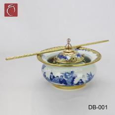 Điếu bát men lam bọc đồng vẽ Trúc Lâm Thất Hiền cao cấp gốm sứ Bảo Khánh Bát Tràng