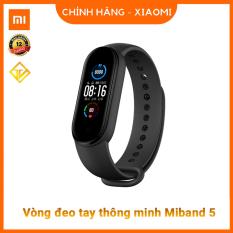 Đồng hồ thông minh Xiaomi Mi Band 5 (Màu đen)/ Tặng dán màn hình / Vòng tay theo dõi sức khoẻ Miband 5 – Theo dõi nhịp tim – Thông báo tình trạng sức khỏe – Nhiều chế độ tập luyện thể thao – Chống nước