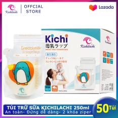 Hộp 50 Túi trữ sữa Kichilachi 250ml- Có vòi rót tiện lợi, an toàn không BPA, chắc chắn không dò sữa