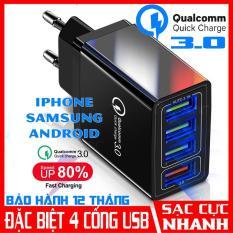 Củ Sạc Nhanh Chuẩn Qualcomm QC 3.0 (4 Cổng USB), Tích Hợp Chip Thông Minh An Toàn, Sạc Cùng Lúc 4 Thiết Bị, củ sạc iphone, cục sạc iphone, cốc sạc điện thoại, cục sạc nhanh 4 cổng usb, cục sạc Samsung, củ sạc ipad Samsung hoco xiaomi CuuLongstore