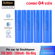 [Combo 04 viên] Pin sạc Lithium 18650 – 1500mAh đầu bằng Doublepow, pin dung lượng thực