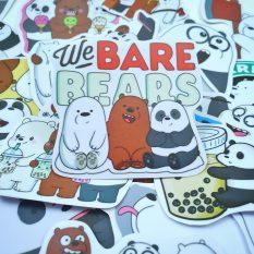 Bộ hình dán We Bare Bears sticker chống nước cao cấp, không bay màu