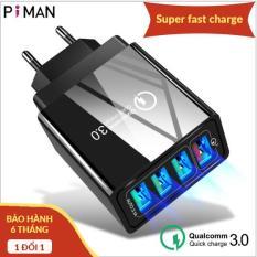 Củ sạc điện thoại nhanh Quick Charge QC 3.0 (4 Cổng USB), Củ sạc điện thoại Tích Hợp Chip Thông Minh, Sạc Cùng Lúc 4 Thiết Bị, củ sạc iphone, cốc sạc điện thoại, cục sạc nhanh 4 cổng usb, cục sạc Samsung, củ sạc ipad Samsung hoco xiaomi [Piman]