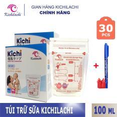 Hộp 30 túi trữ sữa Kichilachi 100ml tặng kèm bút ghi thông tin