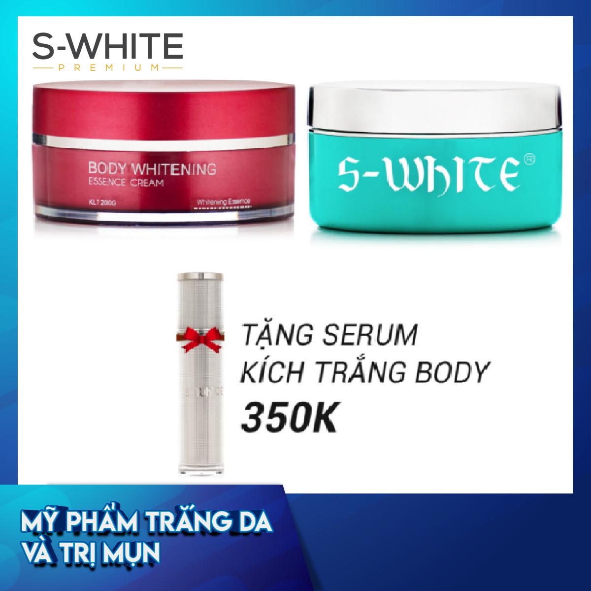 Combo da trắng mịn gồm Kem Body Cốt S-White + Kem Body Táo S-White tặng 1 Serum Kích Trắng Body S-White