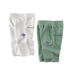 Quần short bé trai TrueKids, quần thun họa tiết thêu cá mập chất cotton hàng xuất