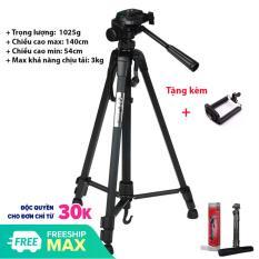 Chân máy ảnh Tripod chụp hình 3 chân Weifeng WT-3520 khung nhôm, cao 140cm, chịu tải 3kg. Hỗ trợ chụp hình, quay phim, livestream chuyên nghiệp. Tặng kèm kẹp điện thoại