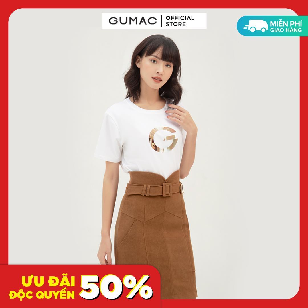 Chân váy nữ dáng ôm body phối đai lưng thời trang GUMAC mẫu mới VB390 chất liệu vải nhung +...