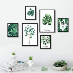 Bộ khung tranh treo tường, treo phòng khách, phòng ngủ hiện đại – Tranh phong cảnh lá cây nhiệt đới- Tặng kèm khung tranh và đinh treo tường – TP166