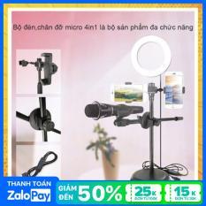 Đèn live stream 4in1 size 16cm, Hợp kim chắc chắn, Đèn led 3 nguồn ánh sáng, Bảo hành 1 đổi 1, Giá đỡ livestream hai điện thoại 4in1 cao cấp, Đèn livestream 4in1