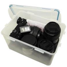 Combo hộp chống ẩm máy ảnh và ẩm kế điện tử, 100gram hạt hút ẩm xanh – dung tích 4 lít (tặng mút xốp lót hộp) – PHUKIEN2T_Q01111