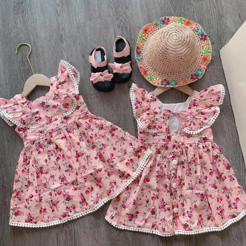 Váy hoa cánh tiên bo viền ren cực xinh cho bé gái – VBG-CTVienRen
