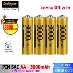 [Hộp 4 viên] Pin sạc AA 3000mAh Doublepow -Pin cao cấp chuyên dụng cho Micro Karaoke – (pin màu vàng) – Bảo hành chính hãng