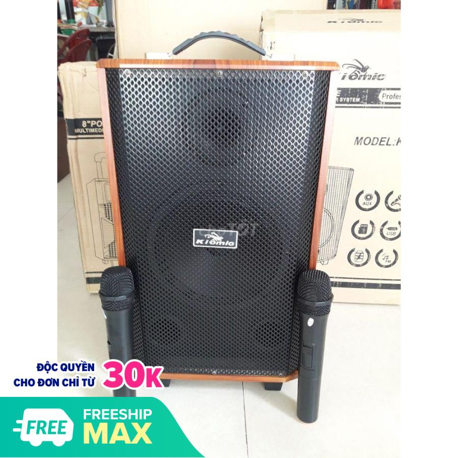 [ĐƯỢC THỬ LOA] Loa kéo di động karaoke Kiomic K88, 2 mic thùng gỗ hát siêu hay