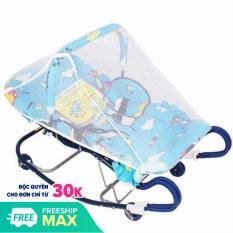 Nôi nhún cho bé sơ sinh nằm chịu lực 30 kg, kèm màn che – Loại 4 nhún ( họa tiết ngẫu nhiên ) – Tặng 01 bộ thú bông treo nôi