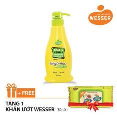 Sữa tắm gội Wesser 2 in 1 hương cỏ xạ hương 500ml (Màu xanh lá) + Tặng 1 gói khăn ướt Wesser 80 tờ (Màu xanh)
