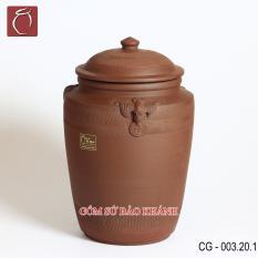 Hũ sành đựng gạo cao cấp Phúc Lộc 20kg – gốm sứ Bảo Khánh Bát Tràng – thùng gạo cao cấp, thùng đựng gạo thông minh