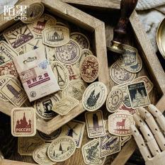 Sticker – Hộp 46 stickers dán họa tiết vintage Country stamp xinh xắn dễ thương trang trí sổ tay Planner, nhật ký, thiệp [ST46-06]
