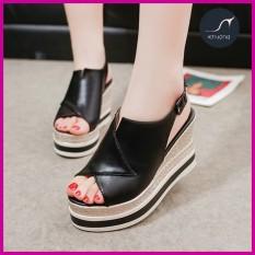 Giày Sandal Nữ Đế Xuồng Họa Tiết Vải Bố Thời Thượng 9cm