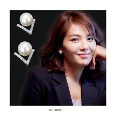 Bông tai nữ phong cách Hàn Quốc – Ngọc Trai & Đính đá chữ V