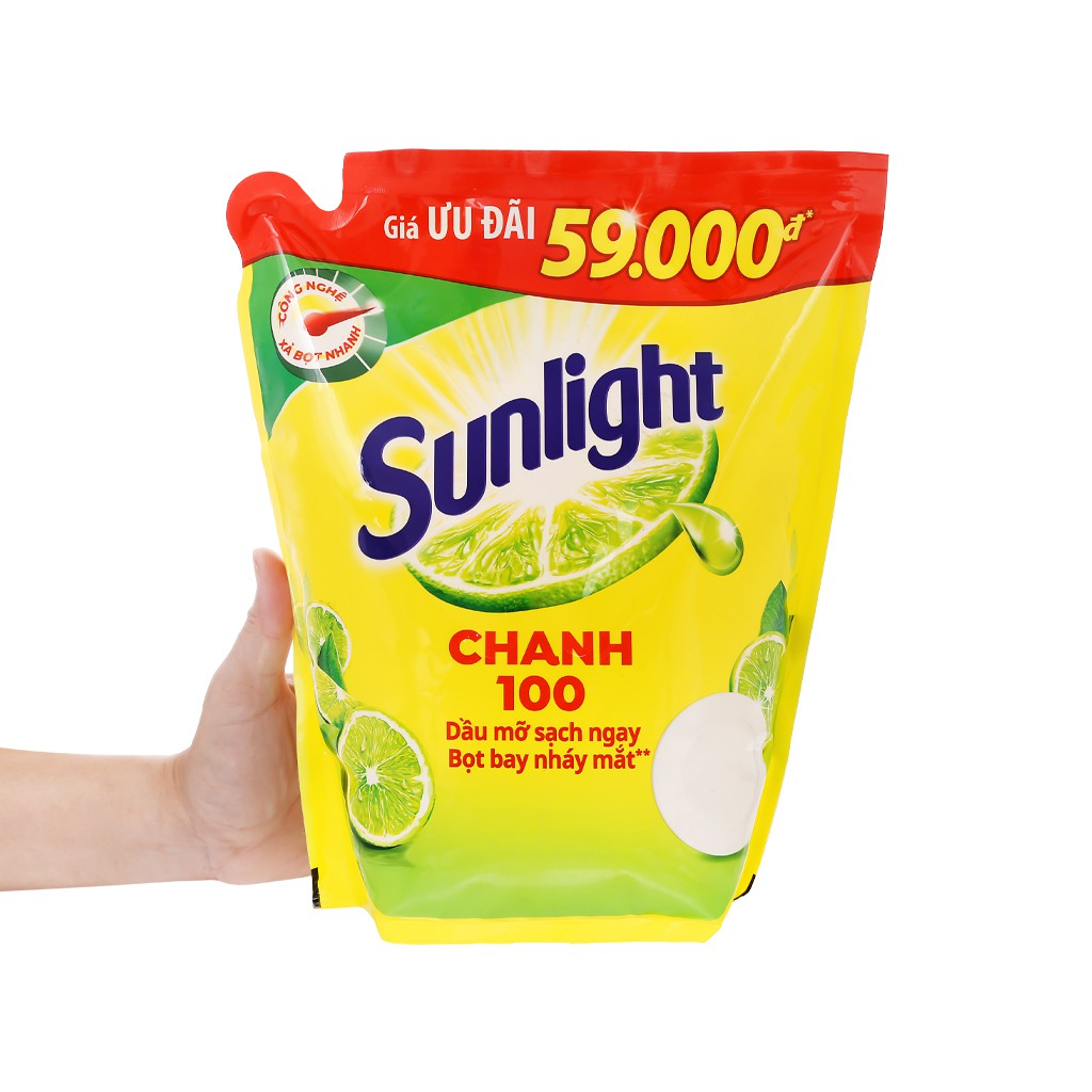 Nước rửa chén Sunlight Diệt Khuẩn chiết xuất Chanh 100 - Túi 2.6kg - xả bọt nhanh