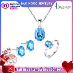 Bộ trang sức bạc nữ trang sức cao cấp gắn đá Topaz thiên nhiên BNT604 Bảo Ngọc Jewelry