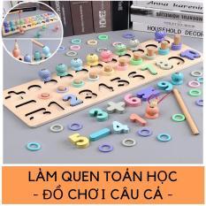 Bộ học toán câu Cá bằng gỗ đồ chơi giáo dục trẻ em do choi tre em cao cap