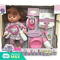 (KHUYẾN MẠI SỐC) Búp bê bé gái dùng pin biết nói nhiều tiếng khác nhau, kích thước to, kèm nhiều đồ cho bé hàng cao cấp (kèm pin), Do choi bup be so sinh be gai dung pin biet noi
