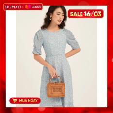 Đầm váy nữ GUMAC thiết kế rã eo nhún tay DB1135