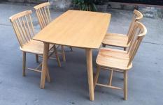 bộ bàn ăn pinnstol Anpha màu gỗ tự nhiên 4 ghế (giao hàng Mphí+Htrợ Lđặt)
