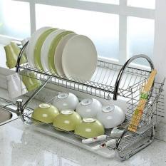 [ Tặng kèm khay hứng nước ] Giá để bát đĩa 2 tầng bằng Inox, giá inox úp bát, giá úp bát đĩa cao cấp, kệ để đồ nhà bếp + Kèm khay hứng