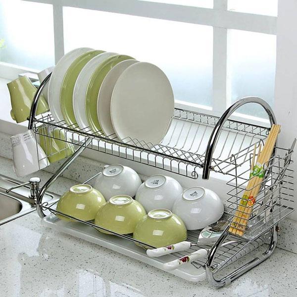 [ Tặng kèm khay hứng nước ] Giá để bát đĩa 2 tầng bằng Inox, giá inox úp bát, giá...