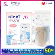 Hộp 50 Túi Đựng Sữa Túi Trữ Sữa Mẹ Kichilachi 250Ml- Hình Con Voi An Toàn Không Bpa, Chắc Chắn, 2 Khóa Ziper Chống Rò