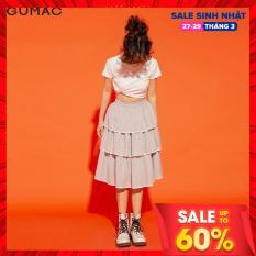 (SALE 50%)Chân váy nữ GUMAC thiết kế tầng viền trắng VA12159 Teen