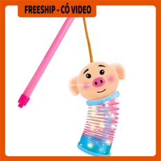 [FREESHIP] Đèn lồng trung thu – Đèn lồng trung thu cho bé hình heo và chuột mickey có đèn – Lồng đen lò xo đèn led cho bé