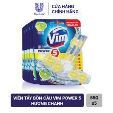 Combo 5 Viên Tẩy Bồn Cầu Vim Power 5 Hương Chanh 55g Sạch Khuẩn Thơm Mát