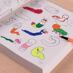 Quyển sách tập tô tập vẽ 5000 hình + Bộ 12 bút màu cho bé yêu thỏa sức sáng tạo Tmark