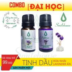 [Combo Đại Học] Tinh dầu Lavender Ấn Độ Smilehouse 10ml và Tinh dầu Hoa lài Smilehouse 10ml – thơm phòng, khử mùi hôi, giảm căng thẳng, xuôi đuổi côn trùng N
