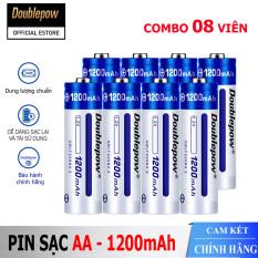 [Hộp 8 viên] Pin tiểu sạc AA 1200mAh Doublepow cao cấp (pin xanh) – Bảo hành chính hãng