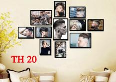 Bộ tranh treo tường tiệm cắt tóc nam 11 tấm